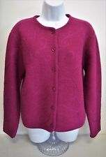 Womens VTG Pendleton Cardigan Sweater Sz M 100% Virgin Wool Fuchsia Embroidered