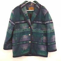 Vtg Woolrich Southwest Wool Shawl Blanket Coat Jacket Womens sz XL USA Made