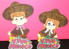 VIVA MEXICO MEXICAN MARIACHI PARTY SUPPLY DECORATION FOAM FIGURES 10 PACK GLITTE