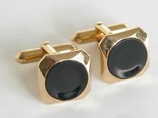 Vtg 70s SWANK Black Onyx Gold Tone Cuff Links  Cufflinks Hipster