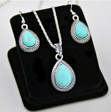 Fashion Woman Tibetan Silver Turquoise Drop Pendant Necklace Earrings Set