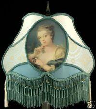 VICTORIAN LAMPSHADE BLUE VICTORIAN LADY SILK ROCOCO