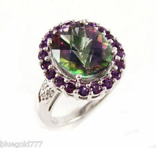 925 Sterling Silver Mystic Topaz, Amethyst & Diamond Gemstone Ring