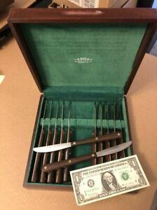 Lik Nu Cutco # 47 Table Knife Set 12 Knives Wood Handles Non Serrated Wooden Box