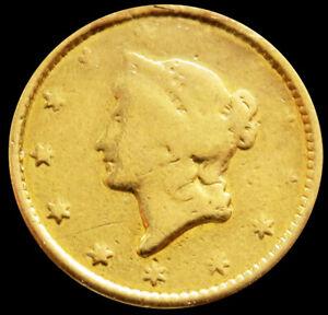 1851 GOLD UNITED STATES LIBERTY HEAD $1 DOLLAR TYPE 1 *DAMAGED