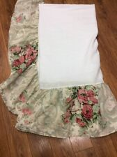 """WESTPOINT STEVENS  bed skirt dust ruffle QUEEN floral roses 14"""" drop shabby #2"""