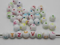 200 White with Colorful Assorted Alphabet Letter Round Beads 8mm