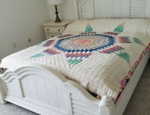 """Vintage Quilt Hand Made Hand Quilted Lone Star Medallion Feed Sack 64 x 80"""" 50's"""
