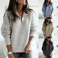Womens Baggy Knitted Sweater Pullover Ladies Warm Long Sleeve Zip Jumper Tops UK