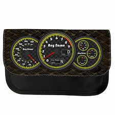 PERSONALISED CAR DIALS PRINT SCHOOL PENCIL CASE / MAKE UP BAG BIRTHDAY XMAS GIFT