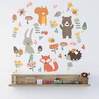Forest Animals Wall Sticker Woodland Rabbit Fox Bear DIY Decal Baby Kid Nursery