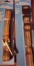 Large Size Multi colored Striped Collar Leash set New