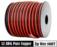 12 AWG Gauge Red Black Speaker Wire 12 Volt Automotive Power Cable Copper 100 FT