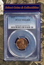 1937-P Lincoln Wheat Cent Pcgs Ms66Rd Stunning Bright Red Gem! No-383