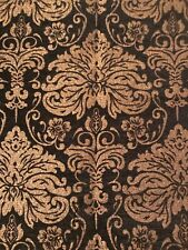 Black and Gold Damask Chenille Tapestry Fabric New Orleans, Old World, Tuscan