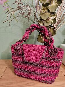 Ladies / Womens Hand Made Crochet  Hand Bag - DUSKY & BROWN