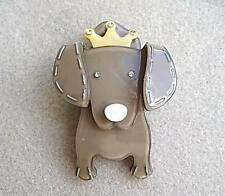 Quirky & Cute Taupe/Coffee Lucite? & Crystal Dog Brooch
