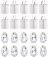 10X White Home Wall AC Charger for  iPhone 8 7 5 6 XS Data Sync USB Cable Cord
