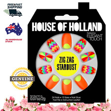 House Of Holland Nails Elegant Touch Zig-Zag Stardust False Nails Kit Beauty Fun