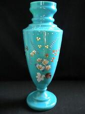 Grand Vase en opaline bleue émaillée