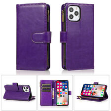 Case For iPhone 12 11 XR 7 8 Zip Coin Purse Card Flip Leather Wallet Phone Cover