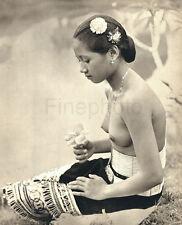 1946 Big Vintage Photo Art BORNEO FEMALE NUDE Asian Oriental Indonesia K.F. WONG