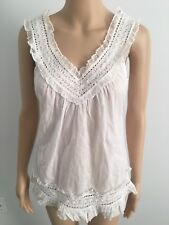 Red Camel 100% Cotton Solid White Sleeveless V Neck  Top  with ruffles Size S