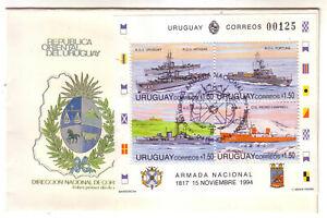 URUGUAY 1994 URUGUAYAN ARMY SOUVENIR SHEET UNADRESSED FDC BOATS SHIPS