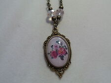 "VINTAGE LOOK ROSE NECKLACE 20"" CHAIN GLASS BEADS PINK"