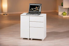 Bureau meuble informatique ordinateur portable console rangement BLANC BRILLANT