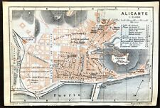 Antique Color Map - SPAIN - PLAN  of  ALICANTE - Karl Baedeker - Original 1913