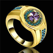 Hot Elegant Jewelry Amethyst &blue yellow Rhodium Plated Wedding Ring Gift Size7