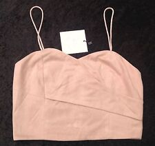 NWT Foxiedox New Ladies Small UK 6/8 Pink Chamois & Silk Lined Crop Top