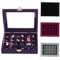 24 Slot Jewelry Box Storage Organizer Case Ring Earring Necklace Display
