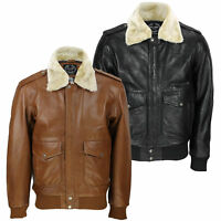fd343089e09 New Mens Real Leather US Air Pilot Bomber Jacket Removable Fur Collar  Black