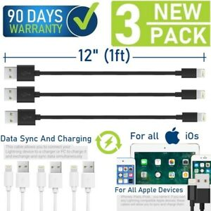 """12"""" (1ft) Data Sync/Charging USB Cable for iPad,iPhone 6,7,8,X,XR,XS,11 (3-Pack)"""
