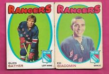 1971-72 OPC RANGERS ED GIACOMIN + GLEN SATHER  CARD (INV# J0157)
