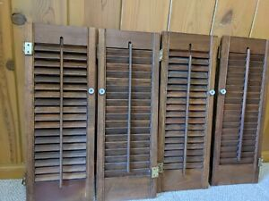 Vintage Wood Louvered Window Shutters | TWO SETS of TWO