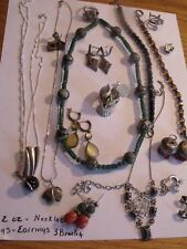 LARGE LOT STERLING SILVER JEWELRY  NECKLACES EARRINGS BRACELETS  5 oz. No scrap