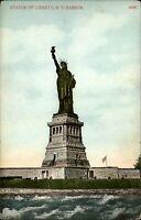 Statue of Liberty New York City NYC ~ NY Harbor flag ~ c1910 vintage postcard