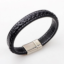Mens Fashion Black Genuine Leather Silver Stainless Steel Charm Bracelet Bangle