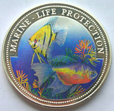 Liberia 1996 Red Snapper 5 Dollars Colour Silver Coin,Proof