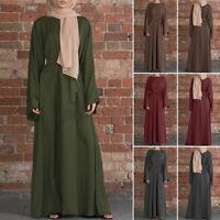 Womens Muslim Islamic Dubai Abaya Long Sleeve Belt Lace Up Party Gown Maxi Dress