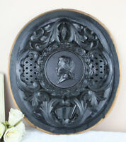 French 19thc Napoleon III black wood carved oval medaillon wall plaque mozart
