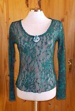 PER UNA petrol blue green floral lace mesh long sleeve tunic top STEAMPUNK 10 38