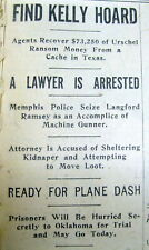 <3 1933 newspapers GANGSTER MACHINE GUN KELLY ARRESTED in Memphis Tennessee MOB