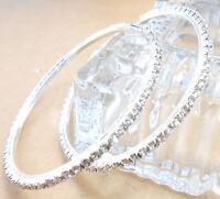 25MM-90MM Loop Crystal 925 Sterling Silver Plate Circle Hoop Earring