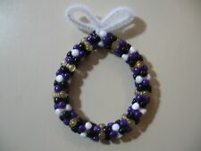 "3"" Wreath: Beaded Ornament (Baltimore Ravens colors) NEW handmade"