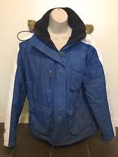 Body Glove Blue Coat Women Size Large Fur Lined Snow Ski Hood Waterproof