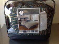 Hexton 8 Piece Queen Comforter Set Blue/tan/ Aztec Pattern